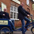 David Charles (left) and Glen Philpott at the grand opening of their new antiques shop Cornucopia II
