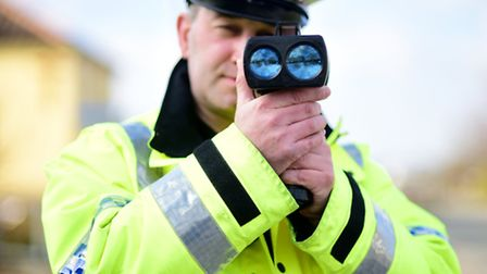 PC Olly Ketteridge on the look out for speeding motorists in Horsford.Picture: ANTONY KELLY