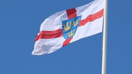 The East Anglia flag flying over County Hall in Norwich,