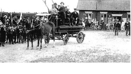 Celebrations in front of Stalham Station to mark the coronation of King Edward VII on January 22 190