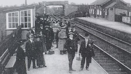 Passengers on the Melton Constable platform at Stalham Station, pictured in the early 1900s. Picture