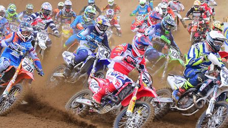 High flying action at Cadders Hill, Lyng in the British Motorcross Championship MX1 race.PHOTO BY SI