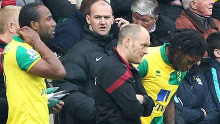 Norwich City manager Alex Neil prepares to bring on Cameron Jerome and Dieumerci Mbokani against Man