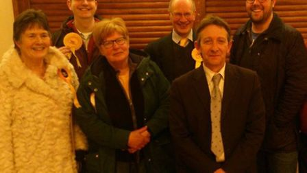 Steve Riley celebrates his success with his supporters following the Aylsham by-election.