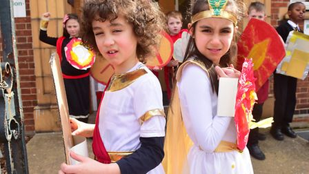Youngsters from St Nicholas Priory primary school dress as Greeks and Romans.PHOTO: Nick Butcher