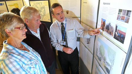 Proposed housing development in Holt. Mark Ashwell (NNDC Planning Policy Manager) with Holt resident