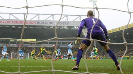 Patrick Bamford's attempt on goal rattles the Manchester City crossbar. Picture by Paul Chesterton/F