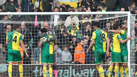The Norwich City team celebrate a point against Manchester City. Picture: Paul Chesterton / Focus Im