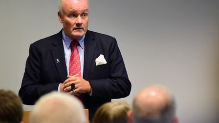 The Norfolk and Norwich University Hospital CEO Mark Davies, speaking at the hospital AGM. Picture: