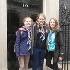 Future Voices: Emily Oxbury, centre, on the steps of 10 Downing Street