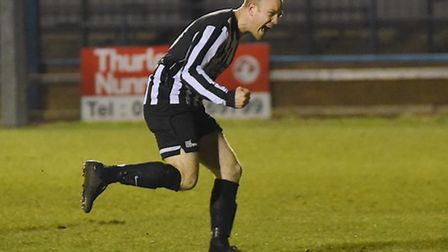 Luke Tuttle shows his delight at netting against Lynn in midweek. Picture: Ian Burt
