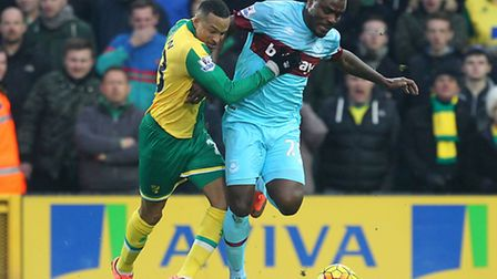 Martin Olsson was a late introduction in Norwich City's 2-2 Premier League draw against West Ham. Pi