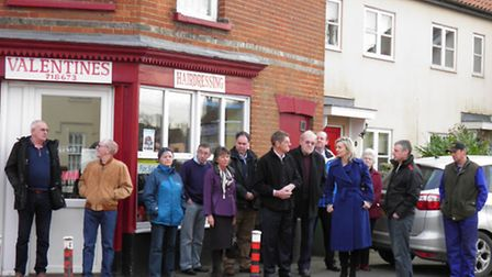 Councillors, residents and Elizabeth Truss MP at Market Street in East Harling. They say there is a