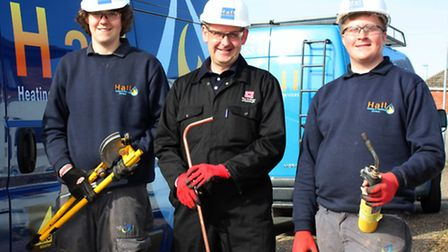 L TO R Liam Farrow, Principal David Pomfret and Daniel Starling. Pictures submitted