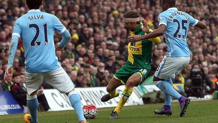 Gary ONeil was a marauding presence for Norwich City against Manchester City. Picture by Paul Cheste