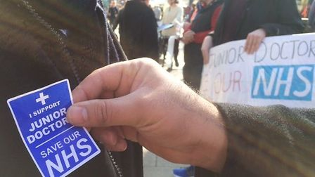 Supporters of the junior doctors strike in Norwich on Thursday. Photo: Steve Adams