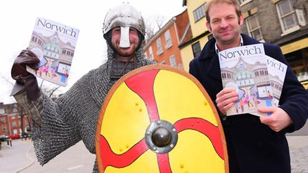 Medieval Max and Nick Bond, head of tourism Visit Norwich, the launch of the the 2016 Visit Norwich
