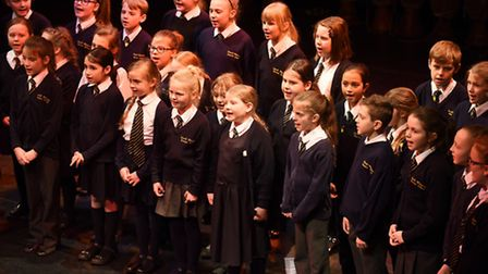 The South Wootton Junior School choir during their Schools Make Music concert rehearsals at the King