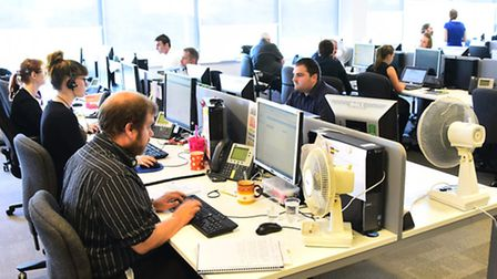 Aviva employees hard at work. Norwich Picture by SIMON FINLAY.