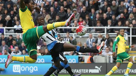 Norwich City's on-loan striker Dieumerci Mbokani was on target at Newcastle United in the Premier Le