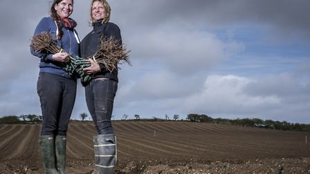 Sisters Sam (left) and Laura Robinson are planting a new vineyard at Crossways Farm in North Creake.