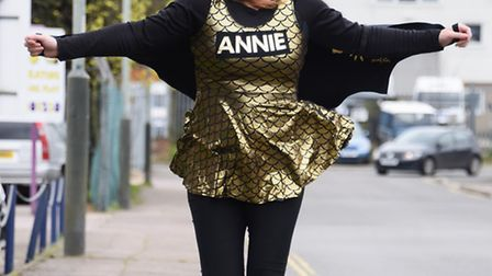 Break charity trustee, Annie Joyce, who is running the London marathon in a dragon costume. Picture: