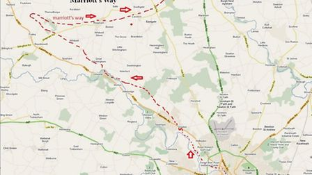 Cycling in Norfolk: Marriott's Way Map. Photo: cycleroutesuk
