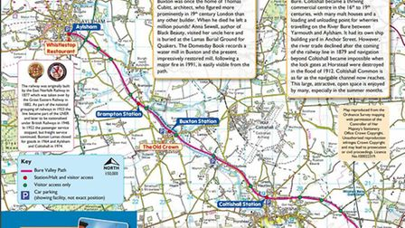 Cycling in Norfolk: Bure Valley Path Map. Photo: thebroadsbybike.org.uk