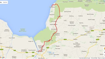 Cycling in Norfolk: Hunstanton to King's Lynn (NCN) map. Photo: gps-routes.co.uk