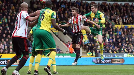 Jonny Howson of Norwich heads for goal during the Barclays Premier League match at Carrow Road, Norw