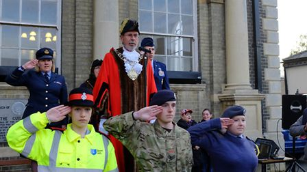 Robert Kybird, mayor of Thetford, leads a chorus of God Save the Queen, joined by the mayor's cadets