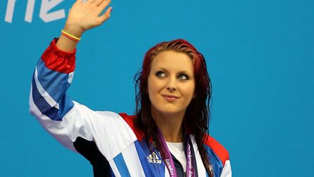 Norfolk star Jessica-Jane Applegate stands atop the London 2012 podium. Picture: PA