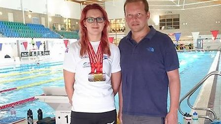 Jessica-Jane Applegate with her coach Alex Pinniger. Picture: SUBMITTED