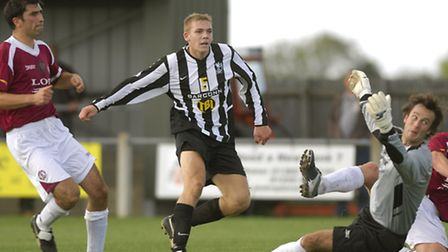 Danny Wright nets an FA Cup goal for Dereham Town way back in 2006. Picture: ANGELA SHARPE