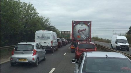Queues on the A47 between the Pullover Roundabout and the Hardwick Roundabout - photo by Levi James
