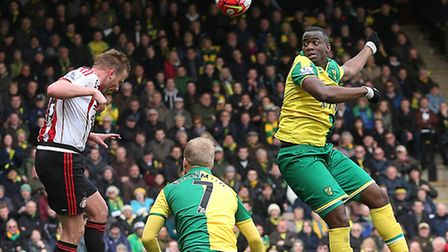 Norwich City centre-back Sebastien Bassong rises to challenge for the ball in the Sunderland penalty