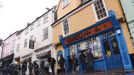 Vinyl enthusiasts braving the rain to buy the latest offerings at Soundclash, St Benedicts, Norwich