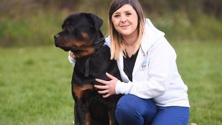Dog show at Swanton Morley raising money for Nelson's Journey. Pictured are Danni Phillips and Zed.