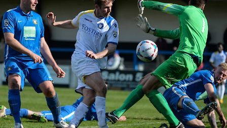 Ryan Jarvis of Lowestoft Town shot is blocked by Jan Budtz during the National League North match at