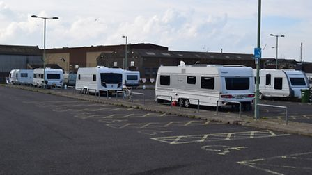 About 10 caravans have arrived at the Clifton Road car park in Lowestoft.