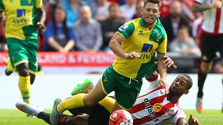 Wes Hoolahan is felled during City's trip to Sunderland earlier this season. Who will be flying and