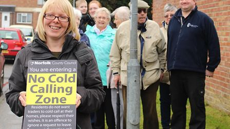 Launch of 150th No Cold Calling Zone in Toftwood. Pictured: Kirsty Heath and neighbours. Picture: Su