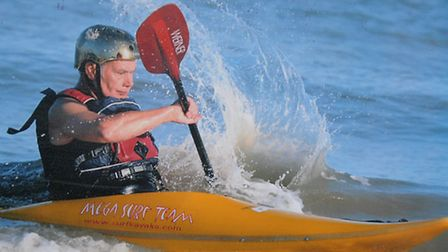 Paul Barnett, 69, tackled the Wiggenhall Wave in his surf kayak.