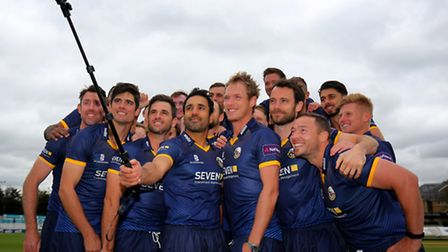 The Essex T20 Blast squad, including England test captain Alastair Cook, pose for a selfie during th