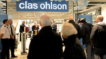 People waiting for the new Clas Ohlson store to open at Chapelfield in Norwich in 2010. The store wi