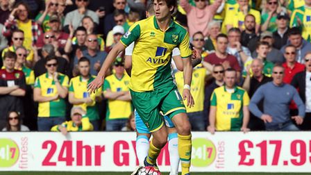 Timm Klose of Norwich in action during the Barclays Premier League match against Newcastle at Carrow
