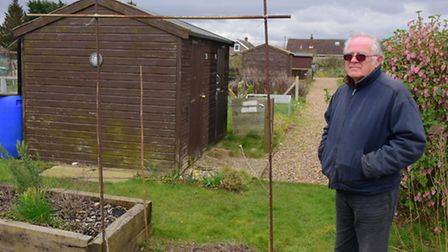 Keith Burdett at the Hellesdon allotments where various sheds were forced open.PHOTO BY SIMON FINLAY