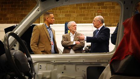 Jeremy Corbyn MP visiting NTS (Norfolk Training Services). Talking to commercial director James Maso