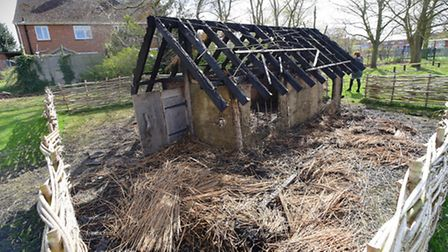 Arsonists have burnt down the Anglo-Saxon longhouse built by pupils at West Earlham Junior School.PH