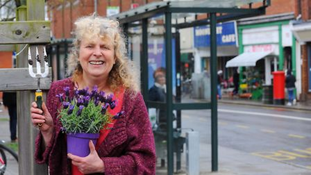 Community minded Magadalen Street trader Carol Mann who has been doing her bit to brighten up the st